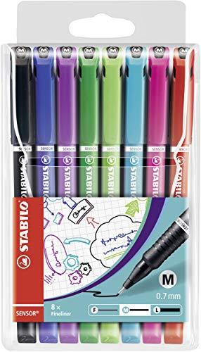 Fineliner mit gefederter Spitze - STABILO SENSOR M - medium - 8er Pack - mit 8 verschiedenen Farben