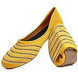 HEAWISH Damen Ballerinas Schuhe für Frauen Bequeme Casual Slip On Schwarz Streifen Runde Zehen Kleid Schuhe, Gelb (Yellow Stripe), 39 EU