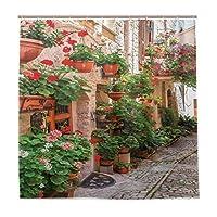 KAPANOU防水 シャワーカーテン 花のポーチと地中海の岩のある小さなルネッサンス様式の町のストリートビュー かわいいシャワーカーテン ユニットバス バスルーム 芸術の装飾 180cmx180cm バスフック付き 取り付け簡単