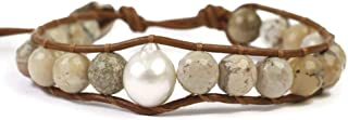 Chan Luu Beige Mineral Stone and Simulated Pearl Beaded Mix Silvertone Single Wrap Bracelet Style