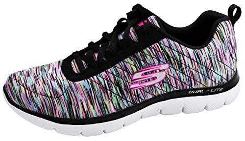 Skechers Flex Appeal 2.0 High Energy - Zapatillas bajas para mujer, Negro (negro y multicolor), 37 EU