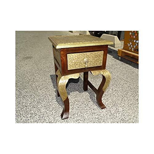 int. d\'ailleurs - Nachttisch mit 1 Schublade aus Palisander und Messing mit dunkler Patina - PAL447
