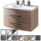 Waschtisch Wingst Sonoma-Eiche (Waschbecken mit Waschbeckenunterschrank) Breite ca. 80 cm, für Gäste-WC, Form recht-eckig, hängend, Front leicht geschwungen, 2 Schubladen breit, hochglanz