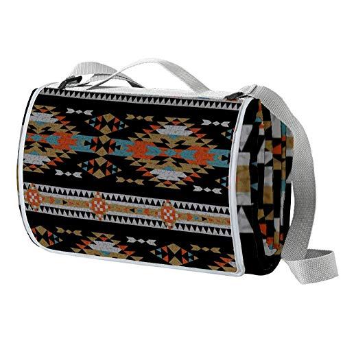OKONE Picknickmatte, wasserdichte Unterseite, amerikanischer indischer Azteken-Ethno-Stil, groß, für den Außenbereich, handliche Matte für Strand, Camping, Wandern, Reisen