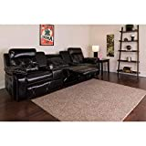 Flash Furniture Reel Comfort Series 3-Seat Reclining Black LeatherSoft Theater Seating Unit with Straight Cup Holders