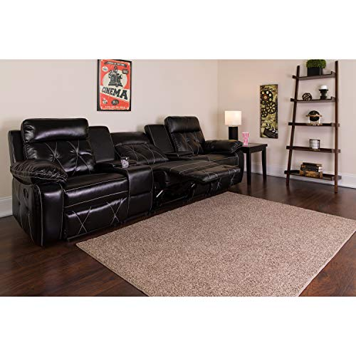 Flash Furniture Reel Comfort Series 3-Seat Reclining Black Leather Theater Seating Unit with Straight Cup Holders