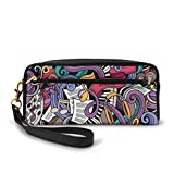 Pencil Case Pen Bag Pouch Stationary,Music Themed Hand Drawn Abstract Instruments Microphone Drums Keyboard Stradivarius,Small Makeup Bag Coin Purse