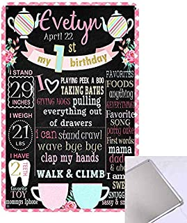 MC Poster Sign Tea Party Birthday Photo Chalkboard Style Sign for A Girl Teal Matte Pink Light Customizable with Liquid Chalk Markers 8 x 12 inches Sign