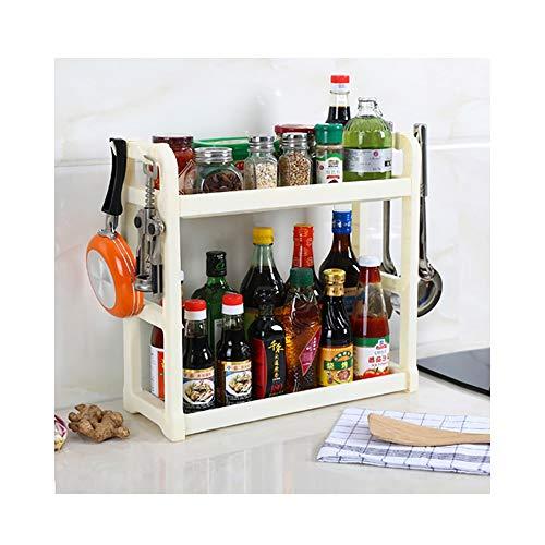 Qisiewell Estante de Especias Blanco Práctico Estante de Especias para armarios de Cocina y Espacio de Trabajo para ordenar en la Cocina Extensible de plástico PP en 2 Niveles