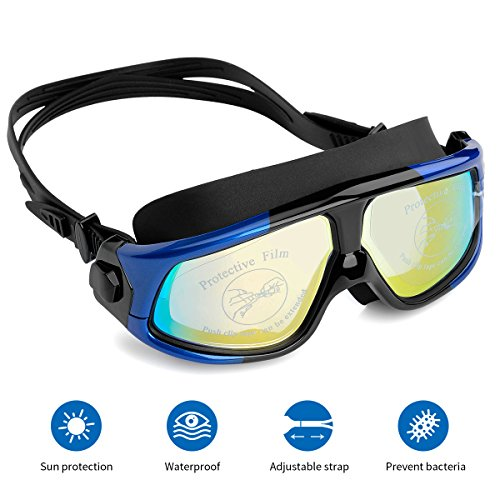 Mantispeed Swim Goggles,No Leaking Wide View Swimming Goggles Professional Anti-Fog Waterproof UV Protection Clear Vision Goggles for Men Women Youth(Blue/Black)