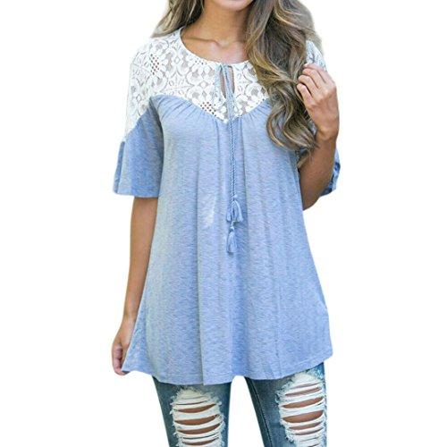 MRULIC Frauen Lose Version Spitze Tops Tie Kurzarm Tops Bluse T-Shirt Frühling Freizeitkleidung(Blau,EU-44/CN-2XL)