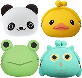 4 Pcs Cartoon Silicone Coin Wallets Coin Purse Headset Bag Cartoon Animal Wallet Waterproofing Coin Silicone Bag Novelty Toy School Prize Gifts Children Goodie Bag Filler