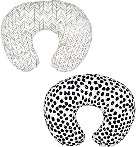 2 Pack (Arrow & Speckles) Nursing Pillow Cover Slipcover for Breastfeeding Pillows, Soft and Comfortable Safely Fits On Standard Infant Nursing Pillows (Arrow & Speckles) (Arrow & Speckles)