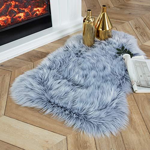 Ashler Soft Faux Sheepskin Fur Chair Couch Cover Area Rug Bedroom Floor Sofa Living Room Sky Blue 2 x 3 Feet