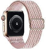 GBPOOT Correa de Compatible con Apple Watch 38mm 40mm 42mm 44mm,Correa Solo Loop Deportiva con Nylon de Repuesto Compatible Iwatch Serie 6/SE/5/4/3/2/1,Rosa Pink,42/44mm