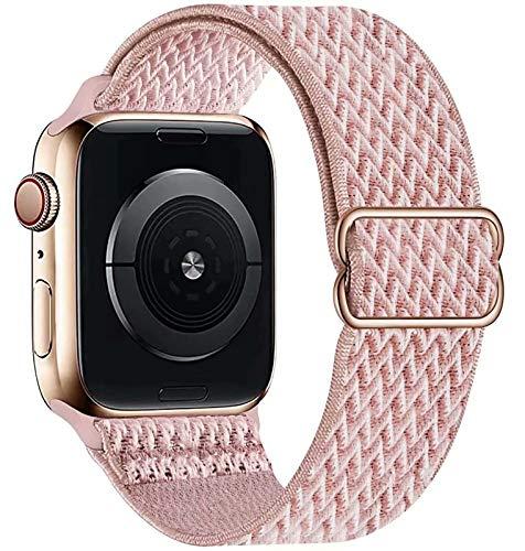 GBPOOT Solo Loop Kompatibel mit Apple Watch Armband, Nylon Sport Armband für IWatch Series 6/SE/5/4/3/2/1,Rosa Pink,38/40mm