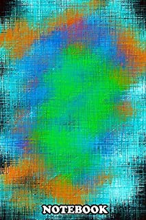 Notebook: Green Blue And Orange Painting Abstract With Black Back , Journal for Writing, College Ruled Size 6