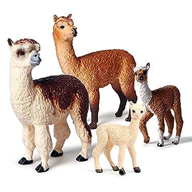 DUANCUICUIZ Model Pack of 4 Cute Alpaca Farm Animal Models Movable Doll Alpaca Animal Doll Gift (Color : Alpaca)