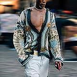 Camisa de Cuadros Sale European American Print Men's Clothing Loose Casual Shirt Ethnic Style Tops Long Sleeve Shirt Plus Size L 729