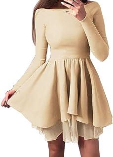 c67a9535bd 4Clovers Women s Stylish Off Shoulder Long Sleeve Tutu Elegant Ruffles Hem  Cocktail Party Mini Swing Dresses