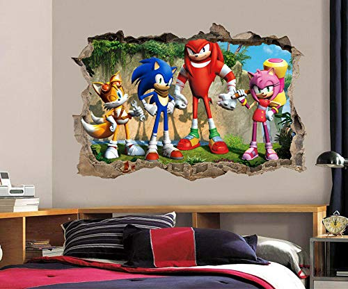 DQPCC Wall Sticker Sonic The 3D Hole Wall Wall Sticker Decal DIY Mural Game Tail