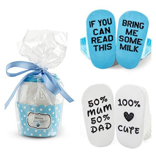 Calcetines de bebé en regalo con diseño de cupcake para baby shower | 2 pares divertidos únicos para cumpleaños o | Lindos calcetines de 0 a 12 meses de edad para bebé o bebé niño Azul azul 0-12 Meses