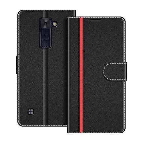 COODIO Handyhülle für LG K8 2016 Handy Hülle, LG K8 2016 Hülle Leder Handytasche für LG K8 2016 Klapphülle Tasche, Schwarz/Rot