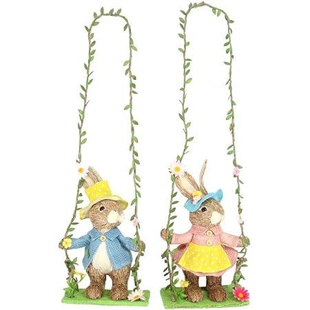 Single Bunny Swing Arch Gisela Graham Easter Spring Flowers Decoration Rabbit