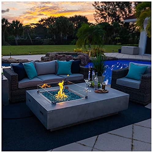 50.000 BTU de propano para mesa de fuego para exteriores, 60 pulgadas, rectangular, de hormigón, para fogatas para exteriores, calentador de patio, encendido electrónico B
