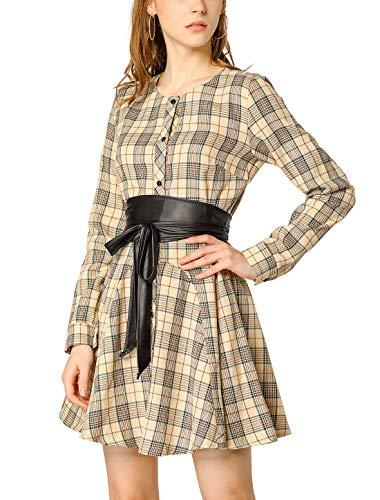 Allegra K Damen A Linie Langarm Bindegürtel Karo Hemdkleid Kleid Khaki XS