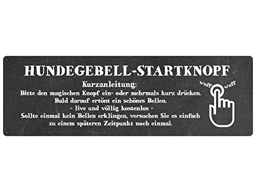 Interluxe METALLSCHILD Blechschild Türschild HUNDEGEBELL-STARTKNOPF Hund Klingelschild SCHWARZ