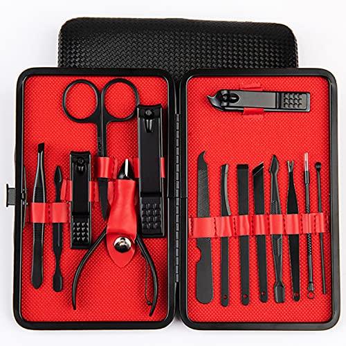 plhzh Profesional Cortaúñas Acero Inoxidable Grooming Kit - Set De 15 Piezas para Manicura Y Pedicura Limpiador Cutícula con Bonita Caja