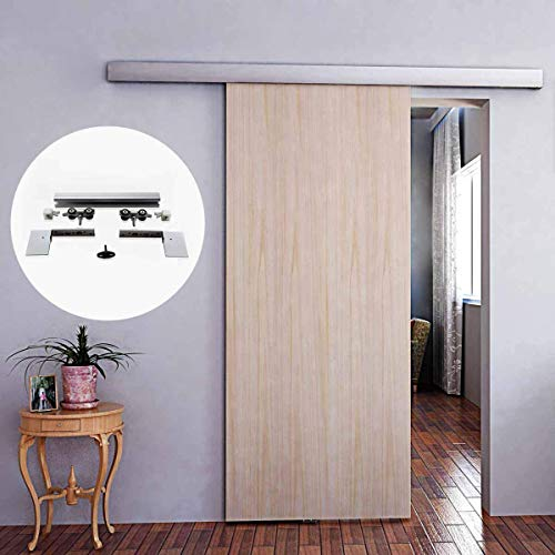 6FT Aluminium Alloy Brushed Hidden Sliding Barn Door Hardware Track Kit with Decorative Cover Fit for Modern Interior Frameless Single 40-45MM Sliding Wood Door Wide Less Than 36inch (A10-183cm)