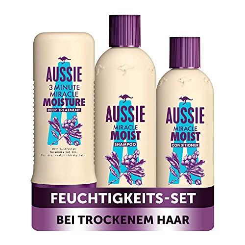 Aussie Haarpflege Set: 1x Miracle Moist Shampoo 300 ml + 1x Pflegespülung 250 ml + 1x Intensivpflege 250 ml, Für Trockenes Haar, Mit Macadamianussöl, Shampoo Damen, Tierversuchsfrei