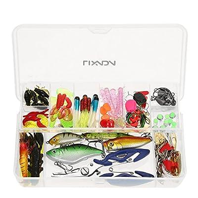 Lixada Fishing Lure Kits 16Pcs/ 105cs/ 106cs Fishing Lure Set Artificial Hard Soft Bait Minnow Spoon Crank Shrimp Jig Hook with Fishing Tackle Box by Lixada