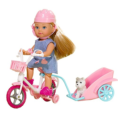 Smoby - 105730783 - Poupée Evi Love - Tour de Vélo avec son Chien - 2 Modèles Aléatoires