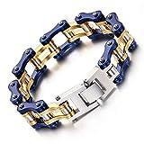 Pulsera de acero de titanio para bicicleta, pulsera de ciclismo, tendencia dorada, azul, engrosamiento, cadena de acero de titanio, 220 x 16 mm (color: A)
