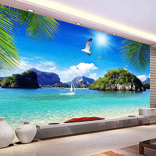 3d stroh vlies benutzerdefinierte wandbild tapete stereo natürlichen blauen ozean seelandschaft strand foto wand abdeckung tv sofa background-430cmx300cm