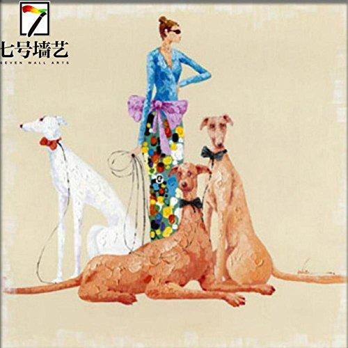 Ragazza moderna pittura semplice e decorativa domestica con animali dipinti a mano olio pittura pura