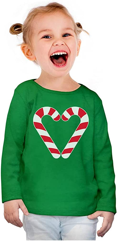 Christmas Candy Cane Heart Gift Girls Toddler Long Sleeve Fitted T-Shirt