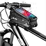 BED COTTON Borsa per Bici, Borse per Bicicletta, con Visiera Parasole, Touch Screen in TPU E Foro per Cuffie per Il Supporto del Cellulare, GPS Mobile Navi, 6,5 Pollici