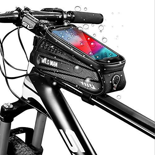 Fahrrad Rahmentasche Wasserdicht, Fahrrad Handyhalterung Navigation, Fahrradtasche Rahmen, Fahrrad Handytasche, Fahrradzubehör, vorne e-bike Lenkertasche TPU Touchscreen, Kopfhörerloch unter 6,5 zoll