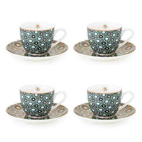 IMAGES D'ORIENT Andalusia Espresso-Set grün-Gold, 8-TLG, 4X Espresso-Tassen mit Untertassen, 90 ml, Porzellan, orientalisches Design mit geometrischen Mustern, inkl. Geschenk-Box