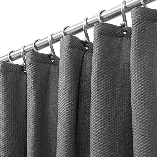 mDesign Extra Long Soft 100% Microfiber Polyester Fabric Shower Curtain - Decorative Embossed Pattern Texture - for Bathroom Showers and Bathtubs - Easy Care, Machine Washable - 72' x 96' - Dark Gray