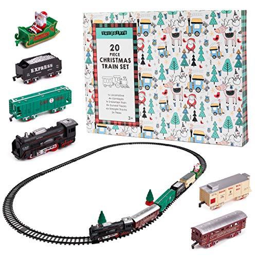 20 Piezas Tren Navideño Eléctrico con Luces y Sonido| 1 Locomotora, 4 Vagones, 1 Vagón Papá Noel, 2 Árboles, 4 Rectas y 8 Vías Curvas| Decoración Árbol de Navidad, Regalo Juguete para Niños.
