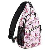 MOSISO Sling Backpack,Travel Hiking Daypack Pattern Rope Crossbody Shoulder Bag, Pink Base Floral