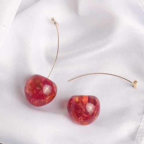 Pendientes De Joyería Pendientes De Resina Preciosos Pendientes De Cereza Roja Rosa Suave Regalo para Mujer
