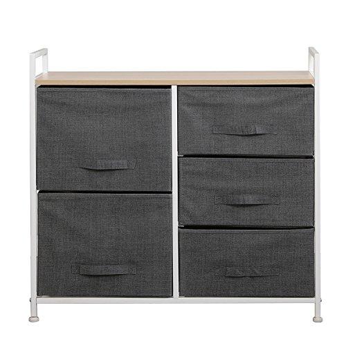soges Aufbewahrung Kommode Garderoben mit 5 Schubladen Schubladenschrank Stoffschrank Campingschrank 83 x 29x 77 cm,Grau,107-GY-N