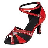 Miyoopark Señoras correa de tobillo satén salón de baile latino zapatos de boda sandalias L165, color Rojo, talla 38.5 EU
