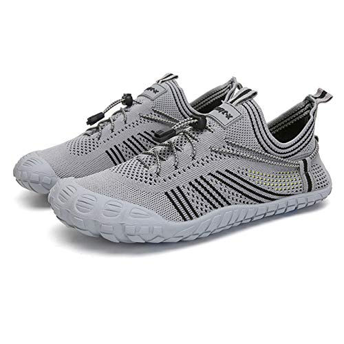 Womens and Mens Water Shoes Barefoot Quick-Dry Beach Pool Shoes Hiking Shoes for Surf Swim Water Sport (Gray, Numeric_13) Grey